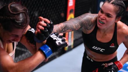 Amanda Nunes lands punch on Felicia Spencer at UFC 250