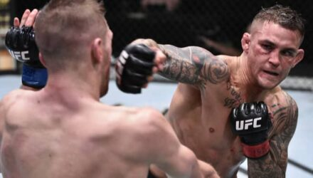 Dustin Poirier cracks Dan Hooker at UFC on ESPN 12