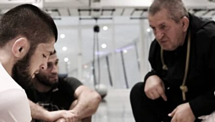 Khabib head lowered father Abdulmanap