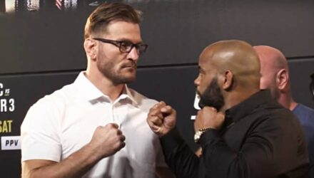 Stipe Miocic and Daniel Cormier UFC 252 press conference faceoff