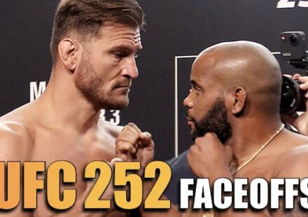 UFC 252 Miocic vs Cormier weigh-in face-offs
