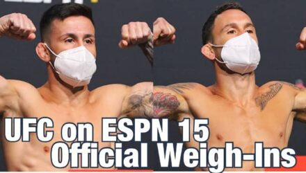 UFC on ESPN 15 Munhoz vs Edgar official weigh-in video