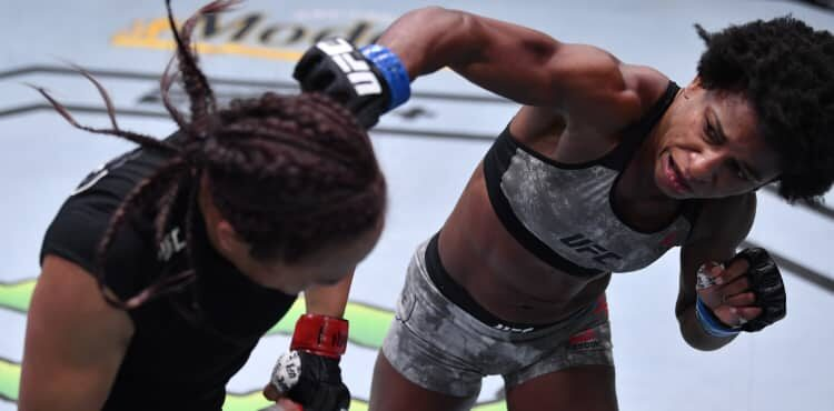 Angela Hill lands on Michelle Waterson at UFC Vegas 10