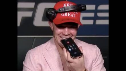 Colby Covington talking to President Donald Trump after UFC Vegas 11
