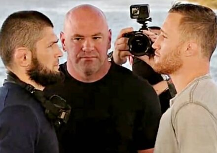 Khabib vs Justin Gaethje UFC 254 beach face-off
