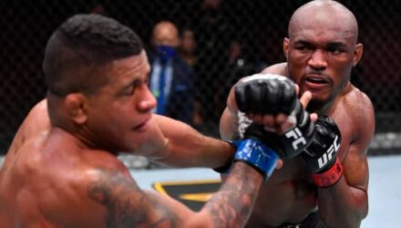 Kamaru Usman cracks Gilbert Burns at UFC 258