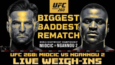 UFC 260 live weigh-in video Miocic vs Ngannou 2