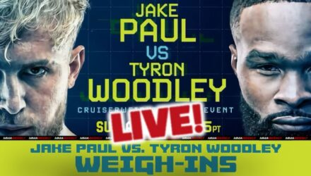 Jake Paul vs Tyron Woodley live weigh-ins